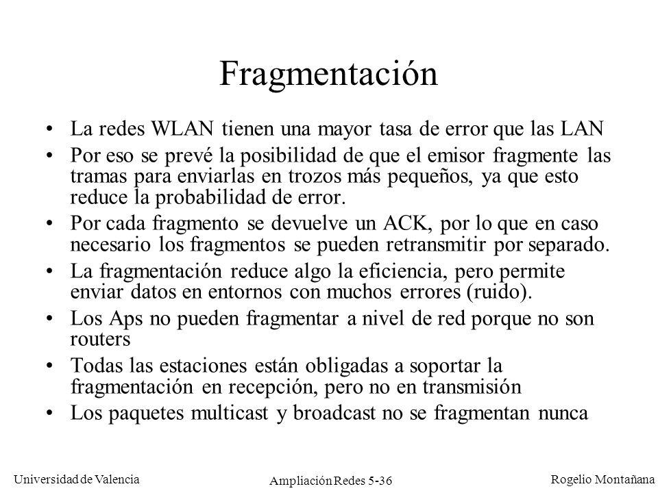 Universidad de Valencia Rogelio Montañana Ampliación Redes 5-36 Fragmentación La redes WLAN tienen una mayor tasa de error que las LAN Por eso se prev