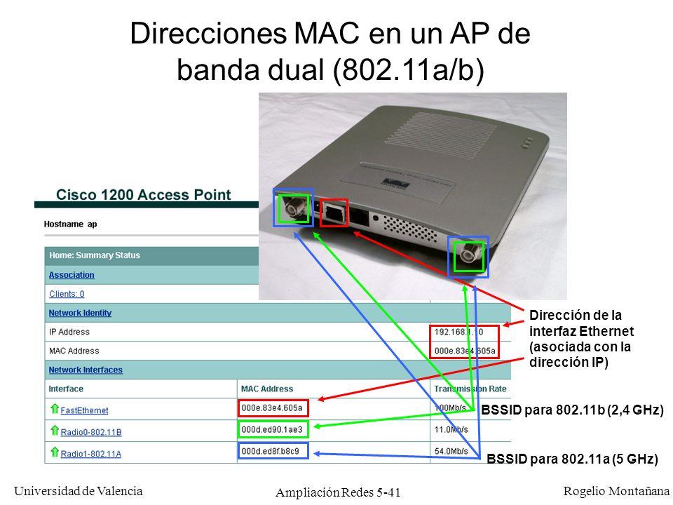 Universidad de Valencia Rogelio Montañana Ampliación Redes 5-41 Direcciones MAC en un AP de banda dual (802.11a/b) BSSID para 802.11b (2,4 GHz) BSSID