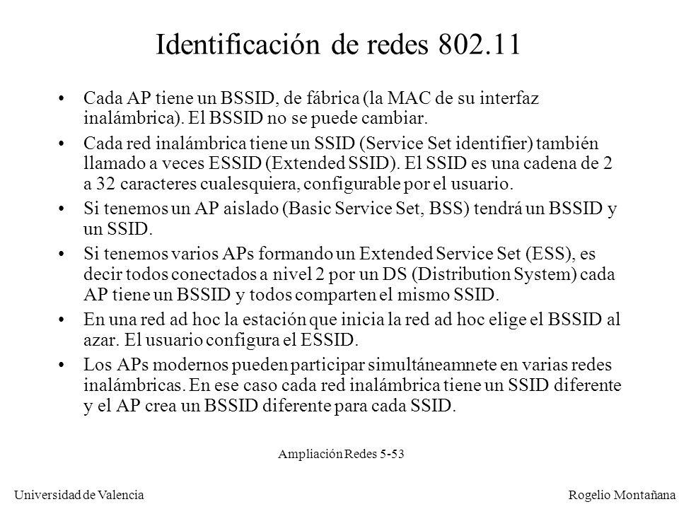 Universidad de Valencia Rogelio Montañana Ampliación Redes 5-53 Identificación de redes 802.11 Cada AP tiene un BSSID, de fábrica (la MAC de su interf
