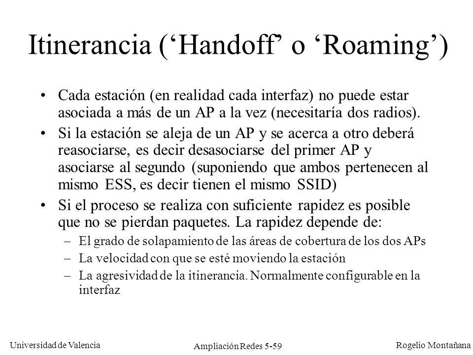 Universidad de Valencia Rogelio Montañana Ampliación Redes 5-59 Itinerancia (Handoff o Roaming) Cada estación (en realidad cada interfaz) no puede est