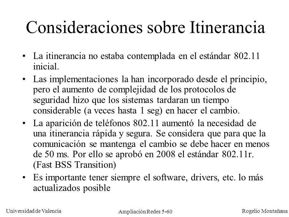 Universidad de Valencia Rogelio Montañana Ampliación Redes 5-60 Consideraciones sobre Itinerancia La itinerancia no estaba contemplada en el estándar