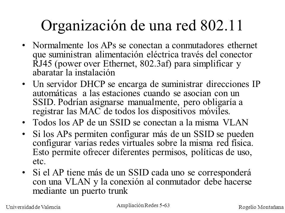 Universidad de Valencia Rogelio Montañana Ampliación Redes 5-63 Organización de una red 802.11 Normalmente los APs se conectan a conmutadores ethernet