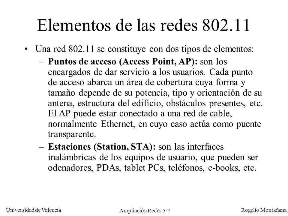 Universidad de Valencia Rogelio Montañana Ampliación Redes 5-7 Elementos de las redes 802.11 Una red 802.11 se constituye con dos tipos de elementos: