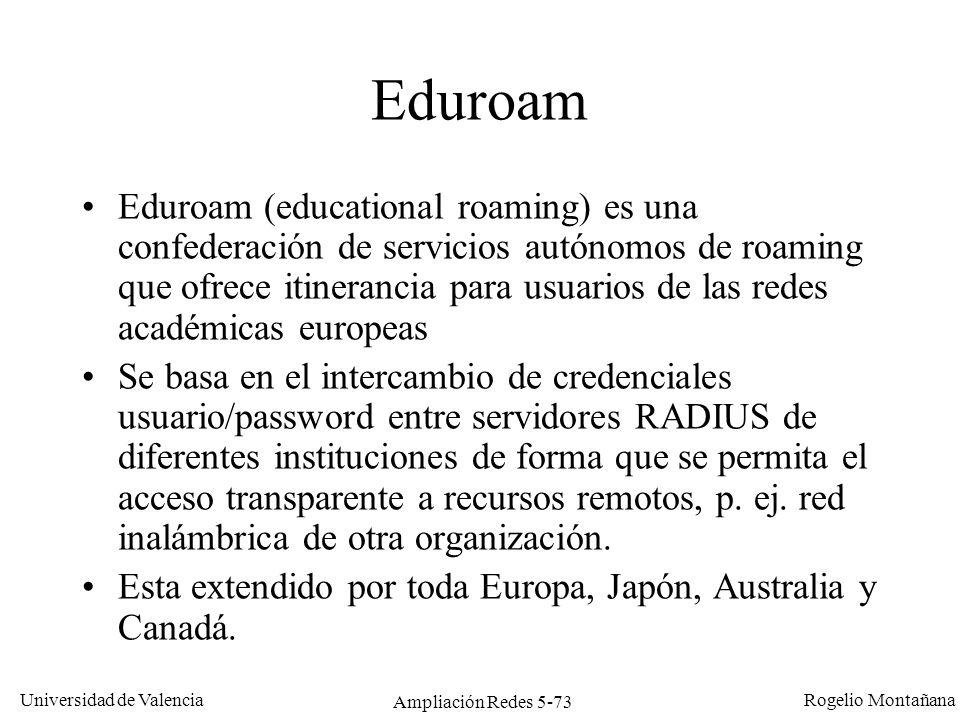Universidad de Valencia Rogelio Montañana Ampliación Redes 5-73 Eduroam Eduroam (educational roaming) es una confederación de servicios autónomos de r