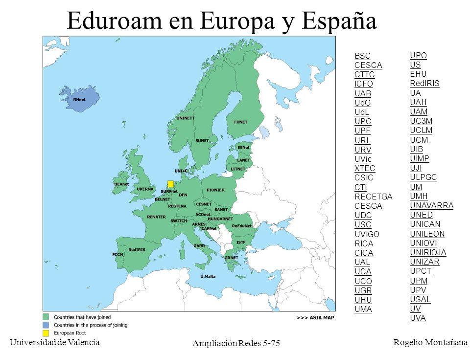 Universidad de Valencia Rogelio Montañana Ampliación Redes 5-75 Eduroam en Europa y España BSC CESCA CTTC ICFO UAB UdG UdL UPC UPF URL URV UVic XTEC C