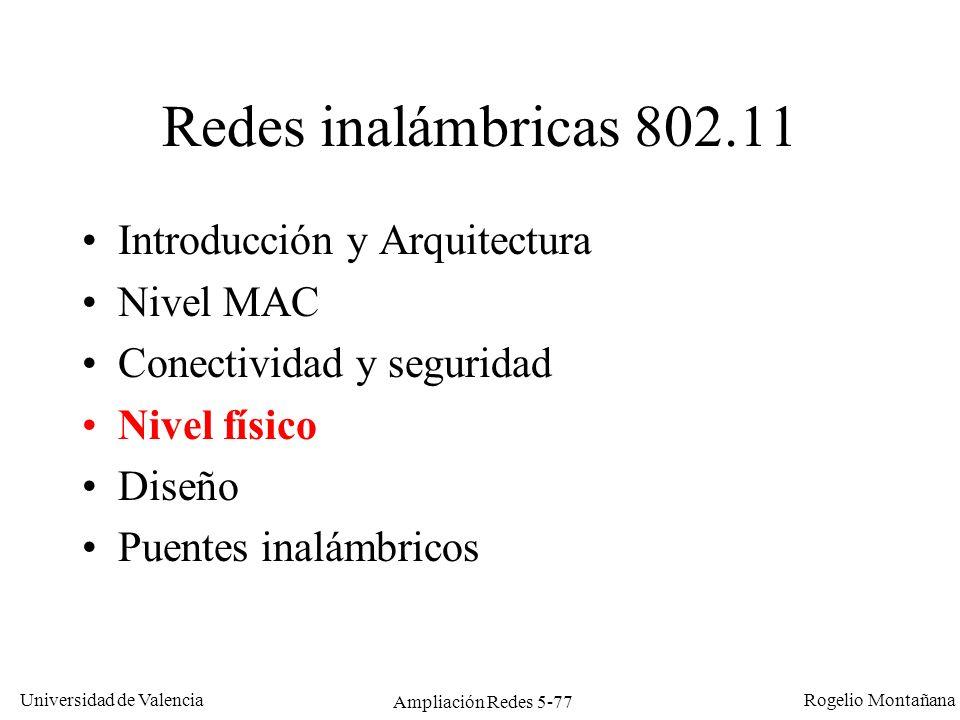 Universidad de Valencia Rogelio Montañana Ampliación Redes 5-77 Redes inalámbricas 802.11 Introducción y Arquitectura Nivel MAC Conectividad y segurid