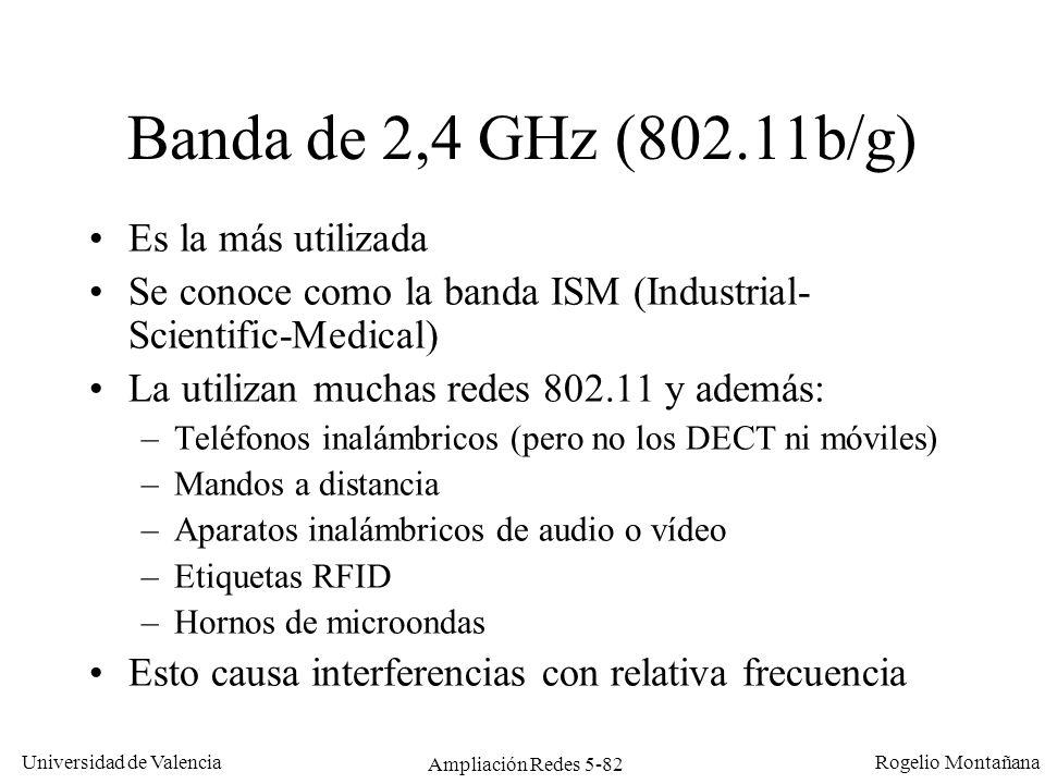 Universidad de Valencia Rogelio Montañana Ampliación Redes 5-82 Banda de 2,4 GHz (802.11b/g) Es la más utilizada Se conoce como la banda ISM (Industri