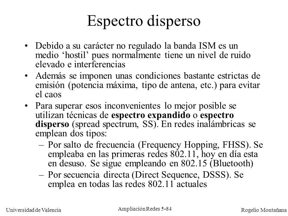 Universidad de Valencia Rogelio Montañana Ampliación Redes 5-84 Espectro disperso Debido a su carácter no regulado la banda ISM es un medio hostil pue