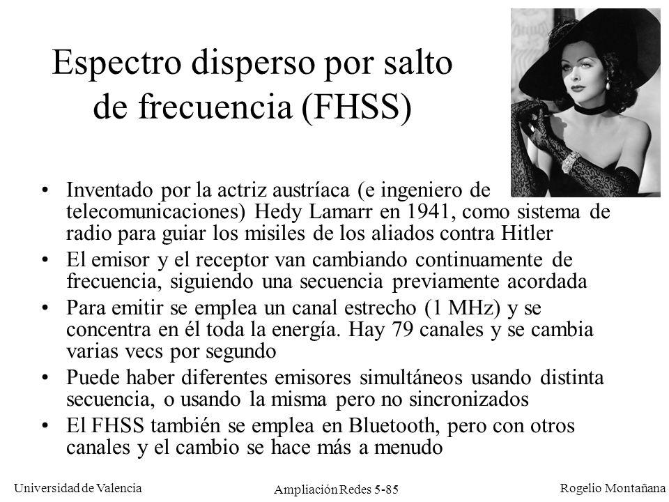 Universidad de Valencia Rogelio Montañana Ampliación Redes 5-85 Espectro disperso por salto de frecuencia (FHSS) Inventado por la actriz austríaca (e