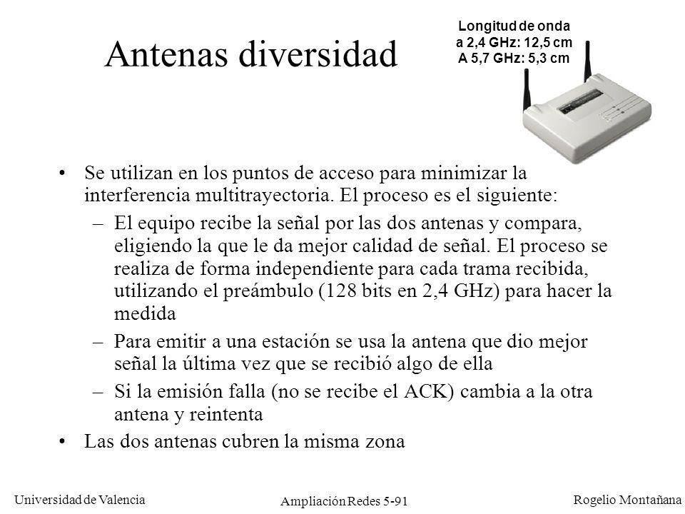 Universidad de Valencia Rogelio Montañana Ampliación Redes 5-91 Antenas diversidad Se utilizan en los puntos de acceso para minimizar la interferencia