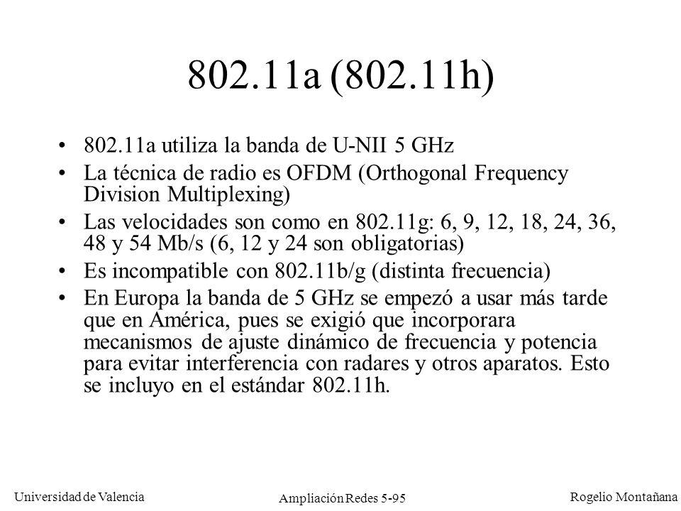 Universidad de Valencia Rogelio Montañana Ampliación Redes 5-95 802.11a (802.11h) 802.11a utiliza la banda de U-NII 5 GHz La técnica de radio es OFDM