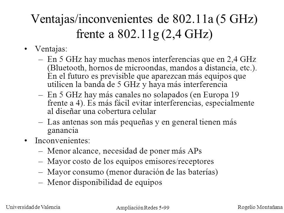 Universidad de Valencia Rogelio Montañana Ampliación Redes 5-99 Ventajas/inconvenientes de 802.11a (5 GHz) frente a 802.11g (2,4 GHz) Ventajas: –En 5