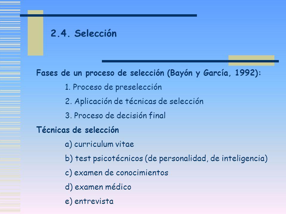 Fases de un proceso de selección (Bayón y García, 1992): 1. Proceso de preselección 2. Aplicación de técnicas de selección 3. Proceso de decisión fina