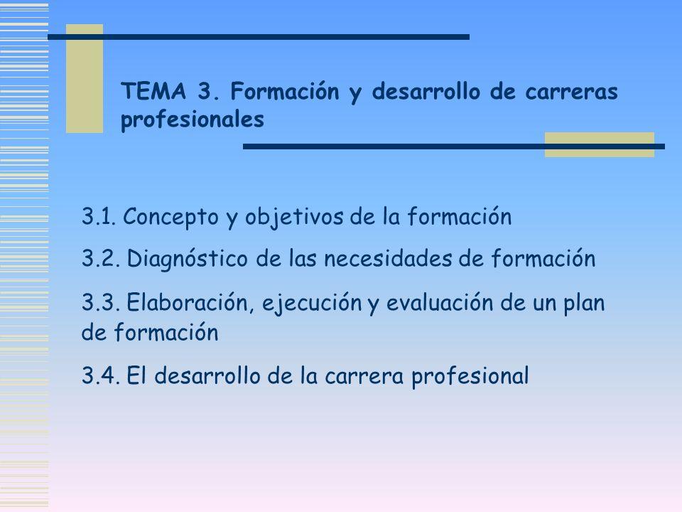 TEMA 3. Formación y desarrollo de carreras profesionales 3.1. Concepto y objetivos de la formación 3.2. Diagnóstico de las necesidades de formación 3.
