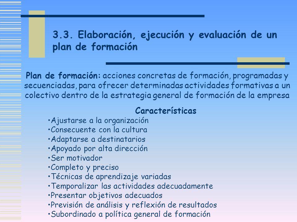 3.3. Elaboración, ejecución y evaluación de un plan de formación Plan de formación: acciones concretas de formación, programadas y secuenciadas, para