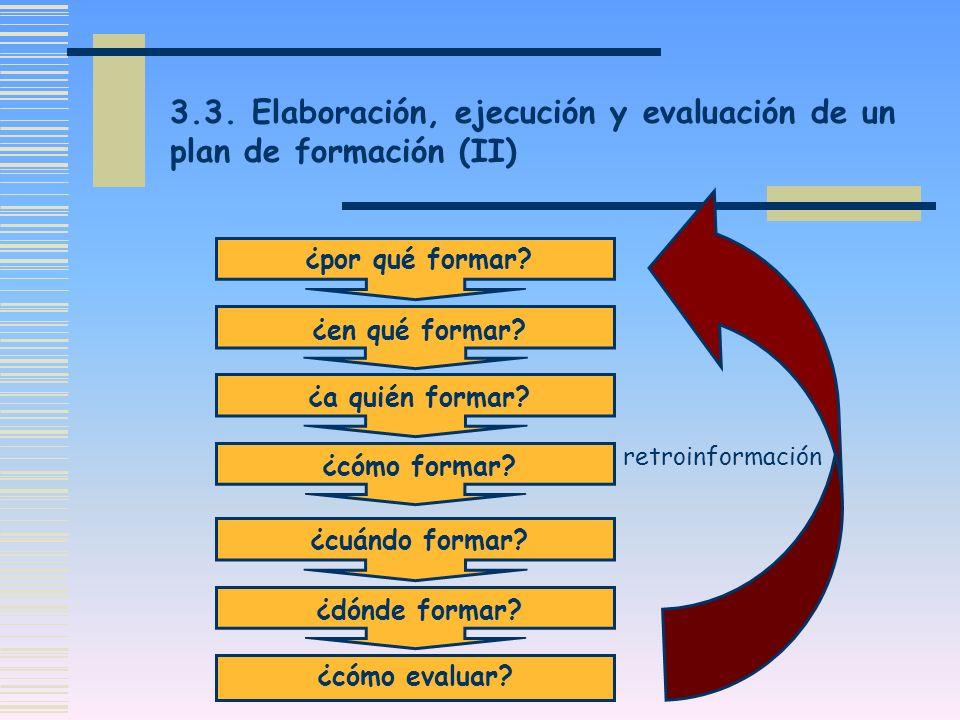 3.3. Elaboración, ejecución y evaluación de un plan de formación (II) ¿por qué formar? ¿en qué formar? ¿a quién formar? ¿cómo formar? ¿cuándo formar?