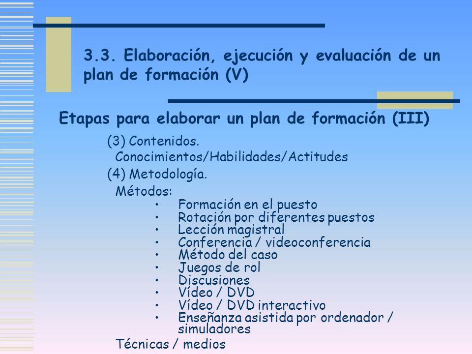 3.3. Elaboración, ejecución y evaluación de un plan de formación (V) (3) Contenidos. Conocimientos/Habilidades/Actitudes (4) Metodología. Métodos: For