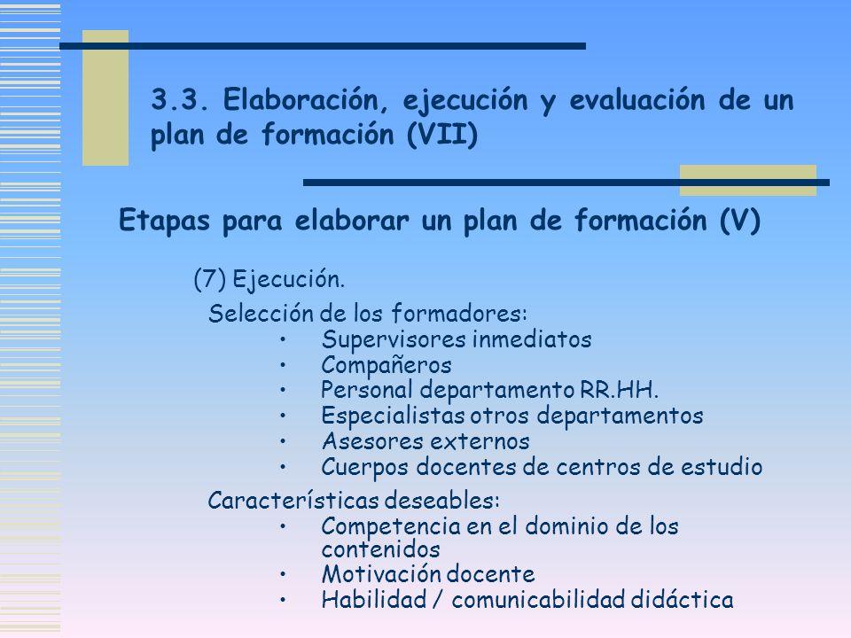 3.3. Elaboración, ejecución y evaluación de un plan de formación (VII) (7) Ejecución. Selección de los formadores: Supervisores inmediatos Compañeros