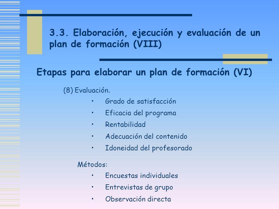 3.3. Elaboración, ejecución y evaluación de un plan de formación (VIII) (8) Evaluación. Grado de satisfacción Eficacia del programa Rentabilidad Adecu