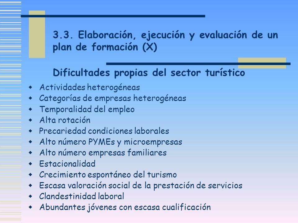 3.3. Elaboración, ejecución y evaluación de un plan de formación (X) Dificultades propias del sector turístico Actividades heterogéneas Categorías de