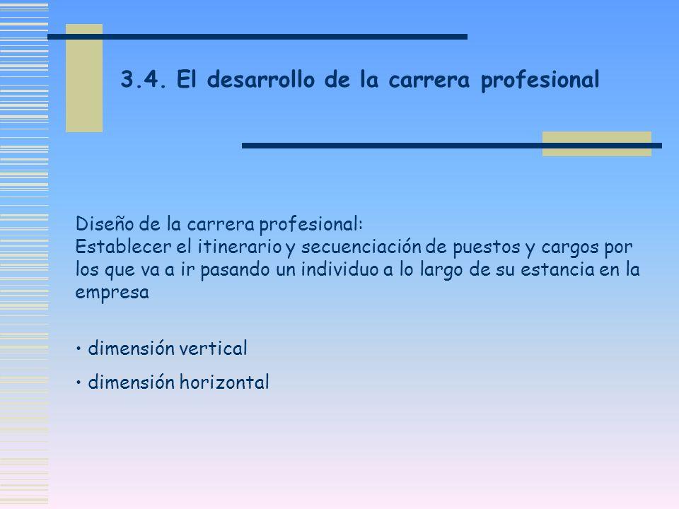 Diseño de la carrera profesional: Establecer el itinerario y secuenciación de puestos y cargos por los que va a ir pasando un individuo a lo largo de