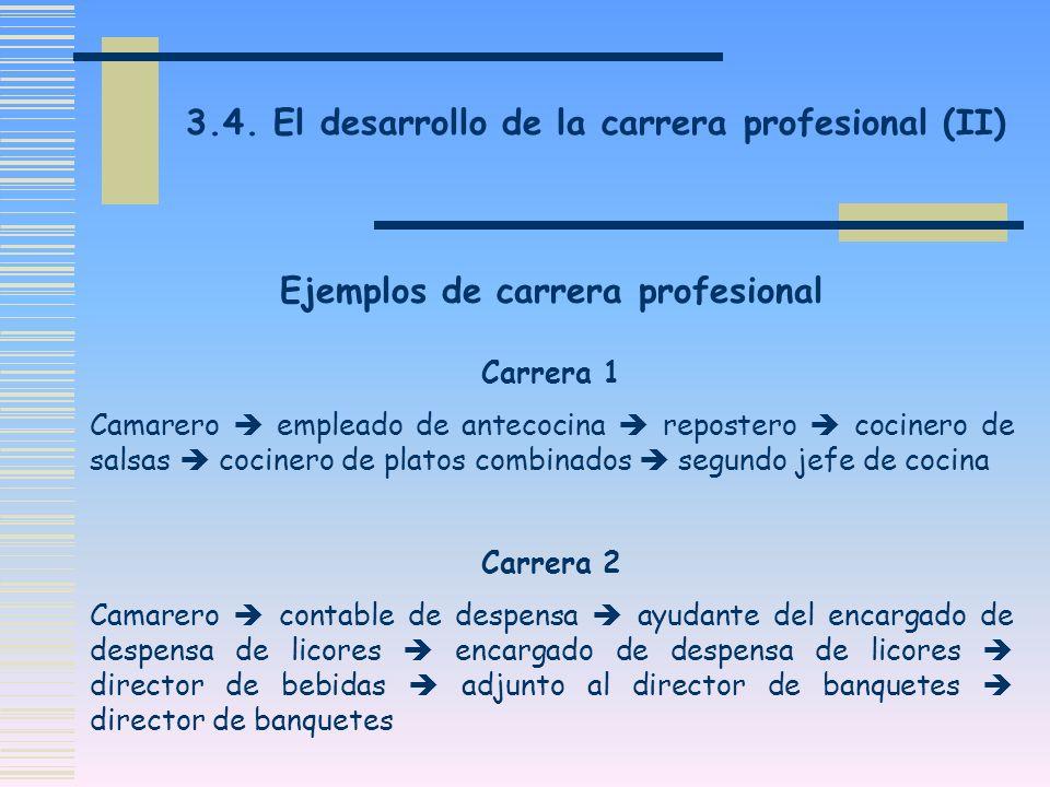 3.4. El desarrollo de la carrera profesional (II) Carrera 1 Camarero empleado de antecocina repostero cocinero de salsas cocinero de platos combinados