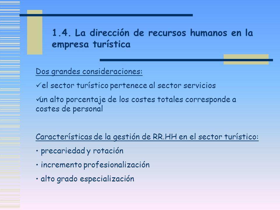 Dos grandes consideraciones: el sector turístico pertenece al sector servicios un alto porcentaje de los costes totales corresponde a costes de person