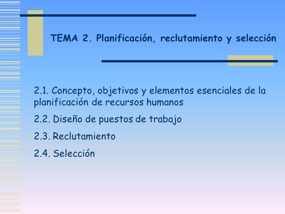 TEMA 2. Planificación, reclutamiento y selección 2.1. Concepto, objetivos y elementos esenciales de la planificación de recursos humanos 2.2. Diseño d