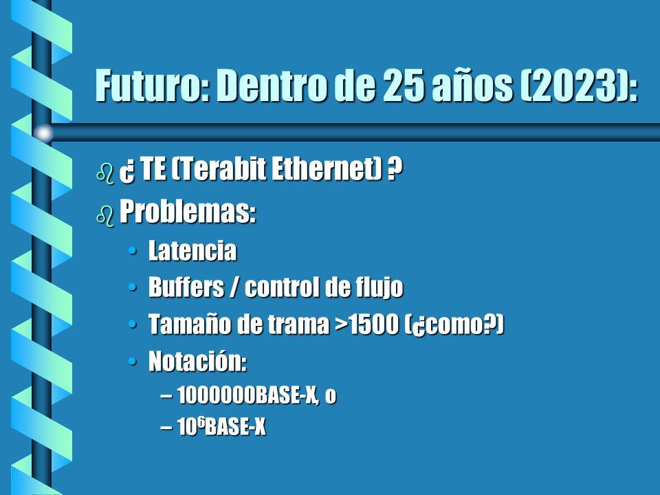 Futuro: Dentro de 25 años (2023): b ¿ TE (Terabit Ethernet) ? b Problemas: LatenciaLatencia Buffers / control de flujoBuffers / control de flujo Tamañ