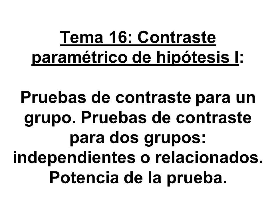 Tema 16: Contraste paramétrico de hipótesis I: Pruebas de contraste para un grupo. Pruebas de contraste para dos grupos: independientes o relacionados