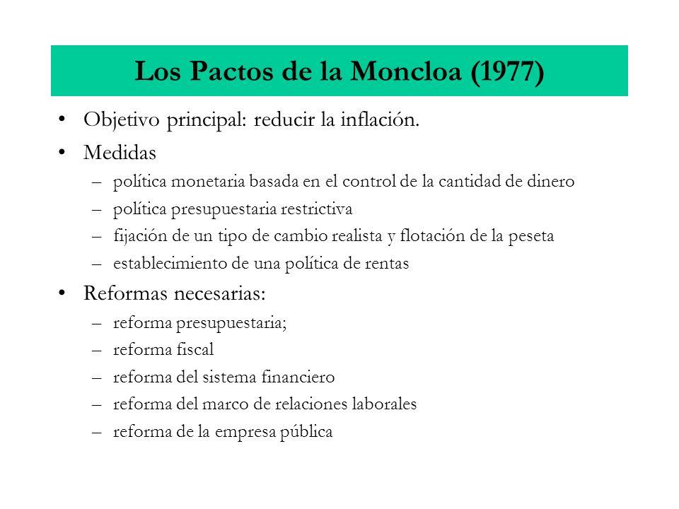 Los Pactos de la Moncloa (1977) Objetivo principal: reducir la inflación. Medidas –política monetaria basada en el control de la cantidad de dinero –p