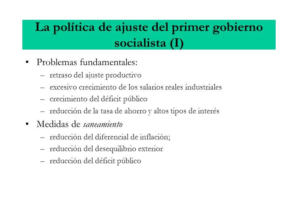 La política de ajuste del primer gobierno socialista (I) Problemas fundamentales: –retraso del ajuste productivo –excesivo crecimiento de los salarios