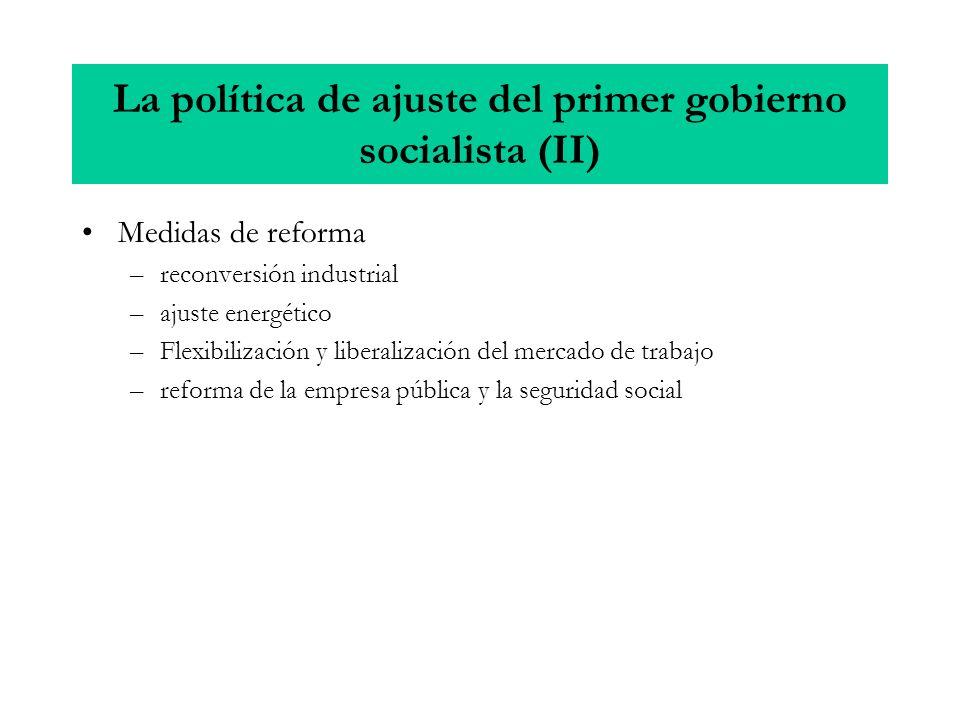 La política de ajuste del primer gobierno socialista (II) Medidas de reforma –reconversión industrial –ajuste energético –Flexibilización y liberaliza
