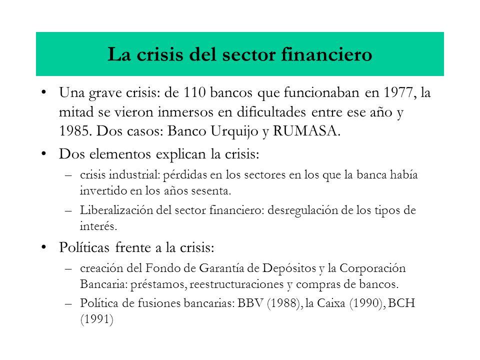 La crisis del sector financiero Una grave crisis: de 110 bancos que funcionaban en 1977, la mitad se vieron inmersos en dificultades entre ese año y 1