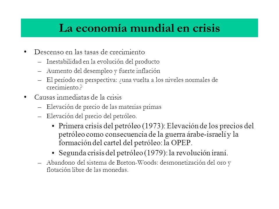 La economía mundial en crisis Descenso en las tasas de crecimiento –Inestabilidad en la evolución del producto –Aumento del desempleo y fuerte inflaci