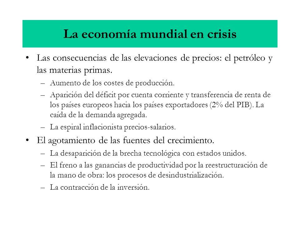 La economía mundial en crisis Las consecuencias de las elevaciones de precios: el petróleo y las materias primas. –Aumento de los costes de producción
