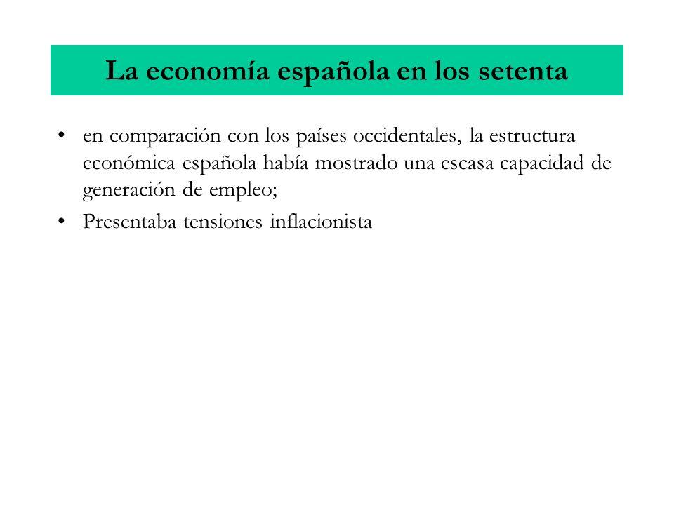 en comparación con los países occidentales, la estructura económica española había mostrado una escasa capacidad de generación de empleo; Presentaba t