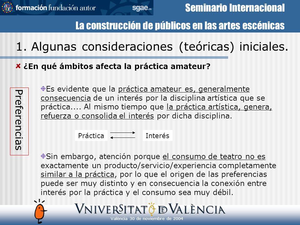 Seminario Internacional La construcción de públicos en las artes escénicas València 30 de noviembre de 2004 Preferencias Práctica Hecho social muy activo(estar con lo amigos, participar en proyectos colectivos...).