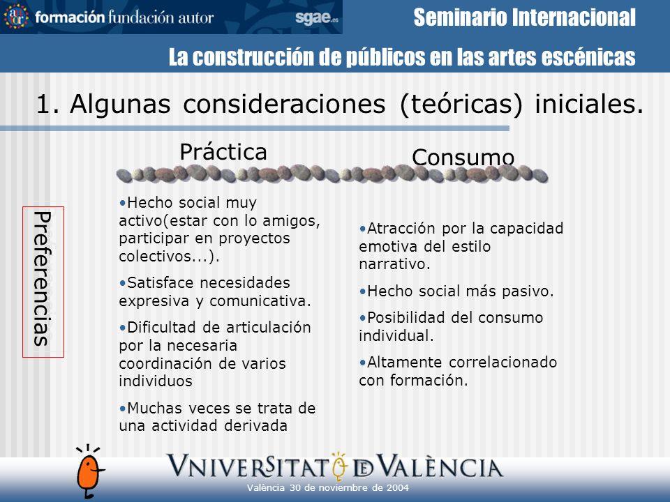 Seminario Internacional La construcción de públicos en las artes escénicas València 30 de noviembre de 2004 3.