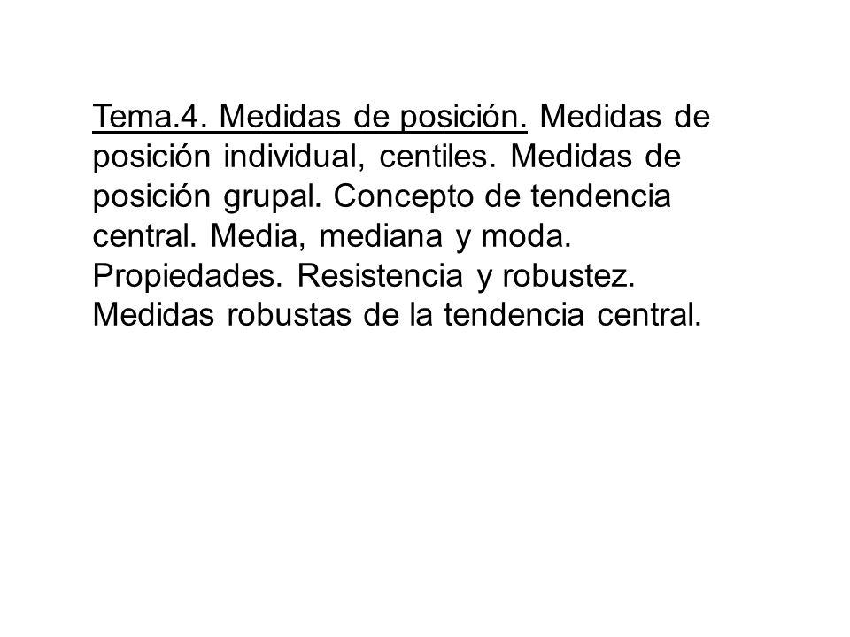 Tema.4. Medidas de posición. Medidas de posición individual, centiles. Medidas de posición grupal. Concepto de tendencia central. Media, mediana y mod