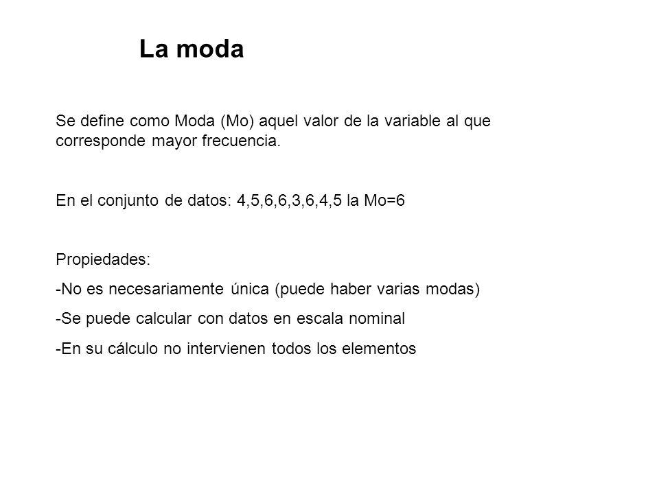 La moda Se define como Moda (Mo) aquel valor de la variable al que corresponde mayor frecuencia. En el conjunto de datos: 4,5,6,6,3,6,4,5 la Mo=6 Prop