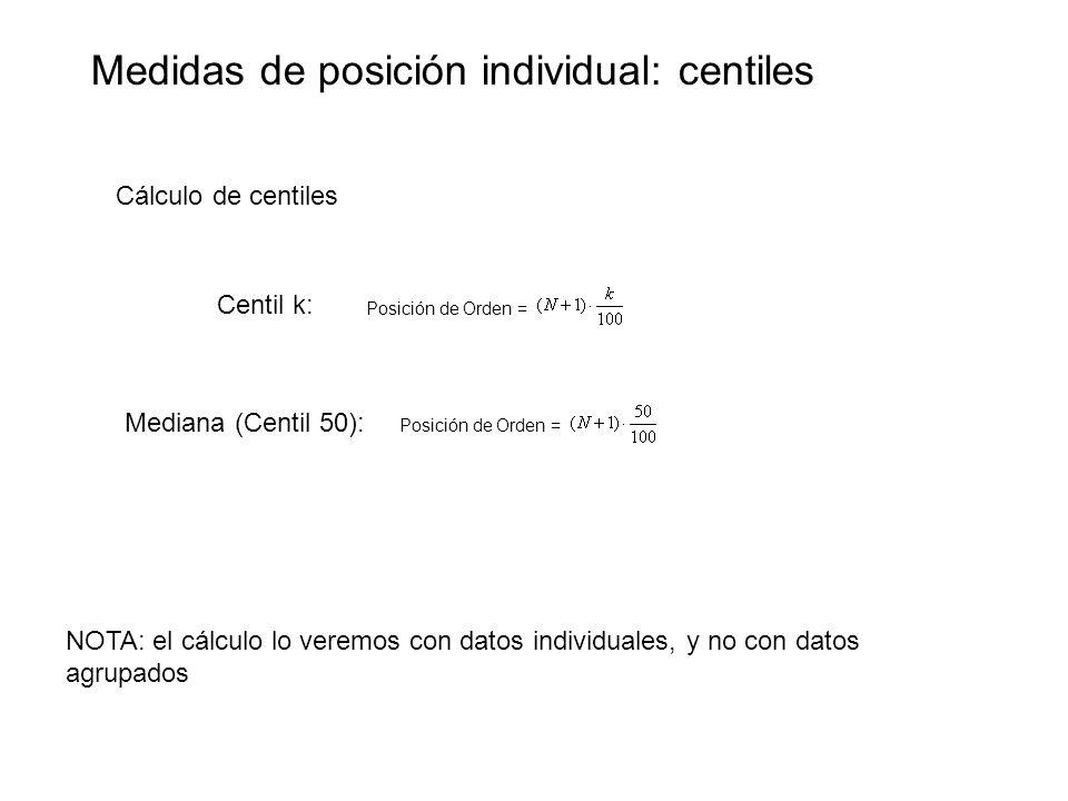 Medidas de posición individual: centiles Cálculo de centiles Centil k: Posición de Orden = Mediana (Centil 50): NOTA: el cálculo lo veremos con datos