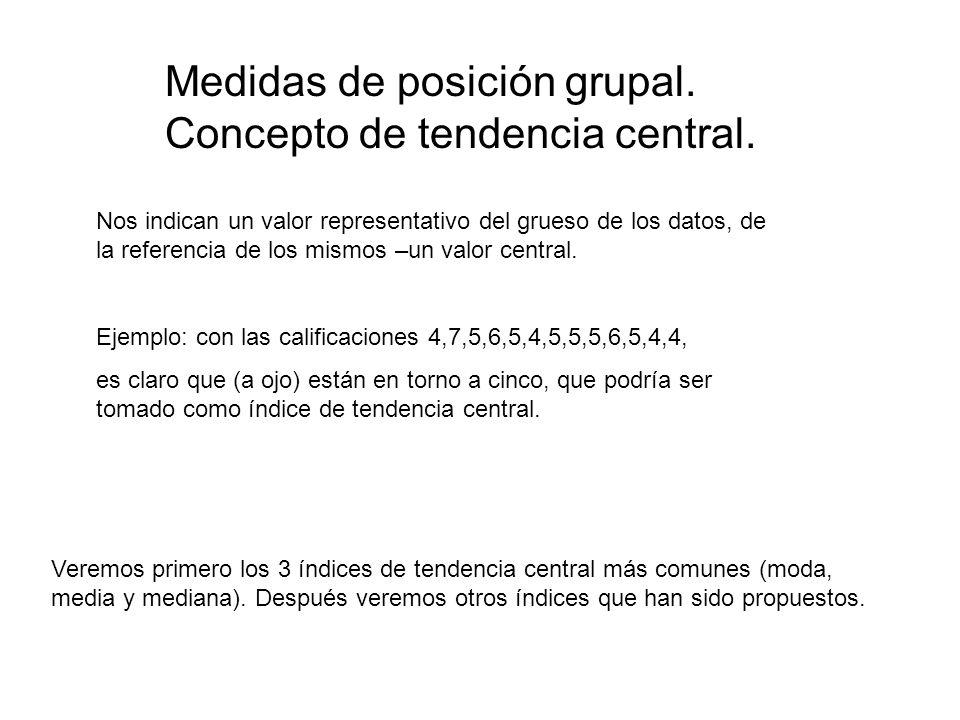 Medidas de posición grupal. Concepto de tendencia central. Nos indican un valor representativo del grueso de los datos, de la referencia de los mismos