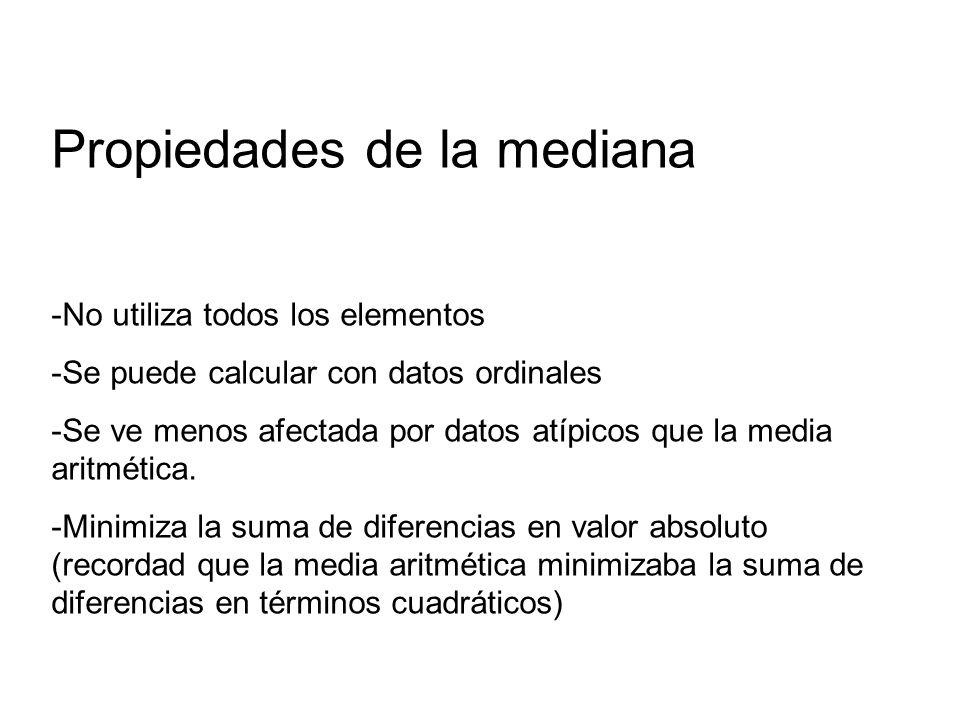 Propiedades de la mediana -No utiliza todos los elementos -Se puede calcular con datos ordinales -Se ve menos afectada por datos atípicos que la media