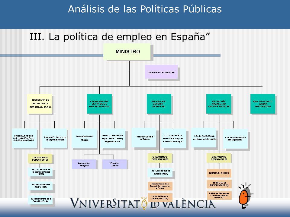 Análisis de las Políticas Públicas III. La política de empleo en España