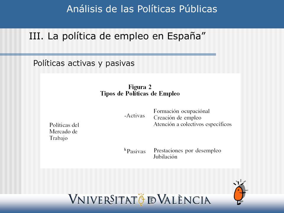 Análisis de las Políticas Públicas III. La política de empleo en España Políticas activas y pasivas