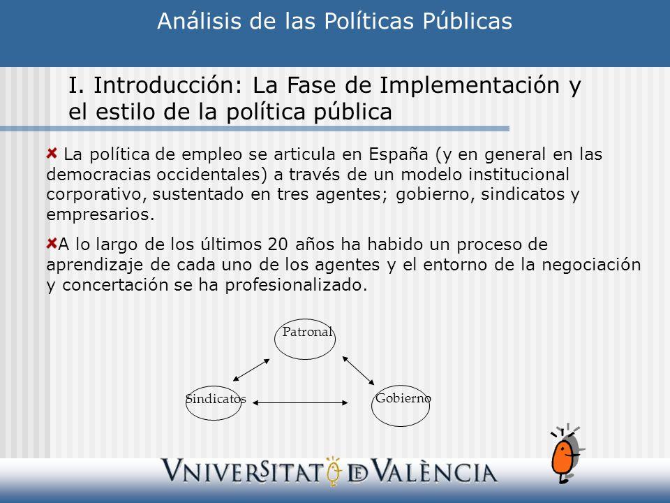 La política de empleo se articula en España (y en general en las democracias occidentales) a través de un modelo institucional corporativo, sustentado
