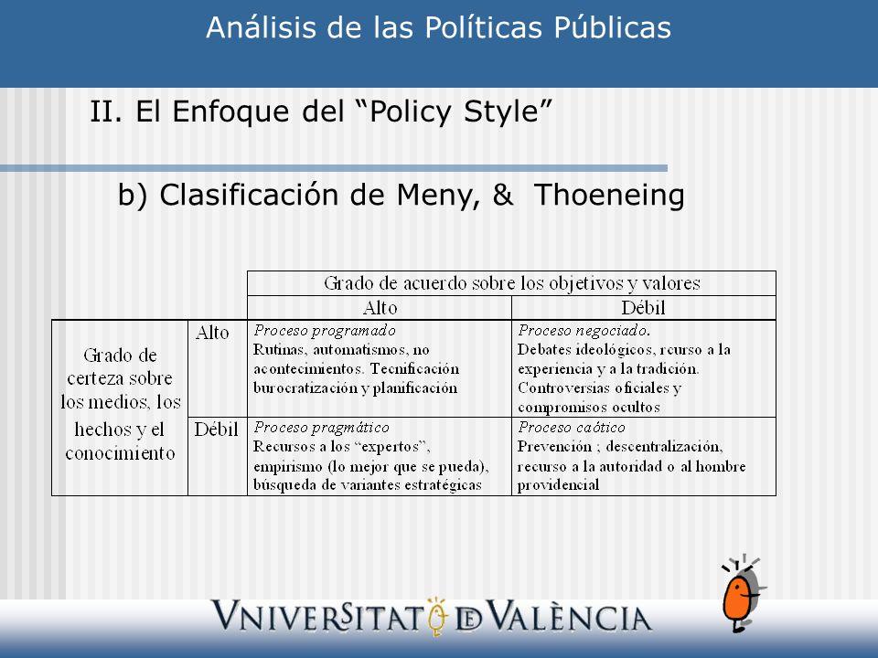 Análisis de las Políticas Públicas II. El Enfoque del Policy Style b) Clasificación de Meny, & Thoeneing