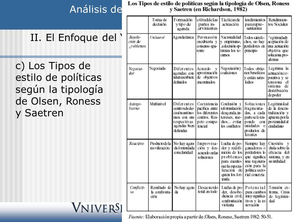 Análisis de las Políticas Públicas II. El Enfoque del Policy Style c) Los Tipos de estilo de políticas según la tipología de Olsen, Roness y Saetren