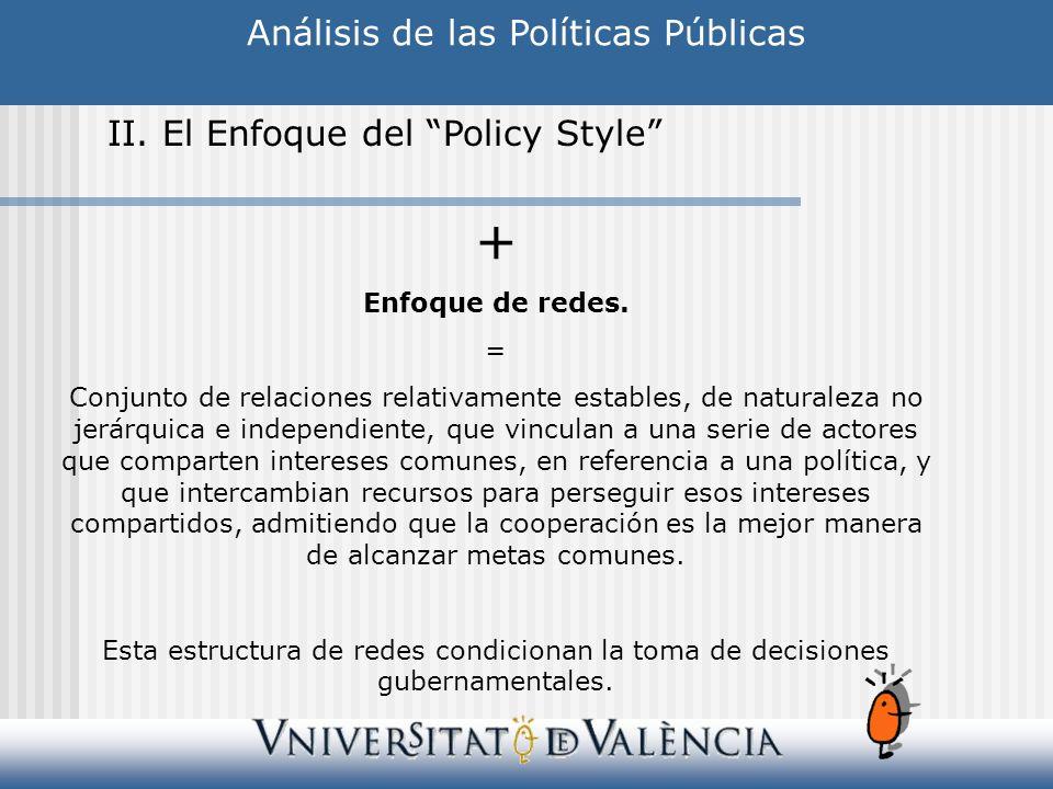 Análisis de las Políticas Públicas II. El Enfoque del Policy Style + Enfoque de redes. = Conjunto de relaciones relativamente estables, de naturaleza